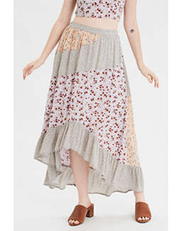 AE High-Waisted Patchwork Midi Skirt