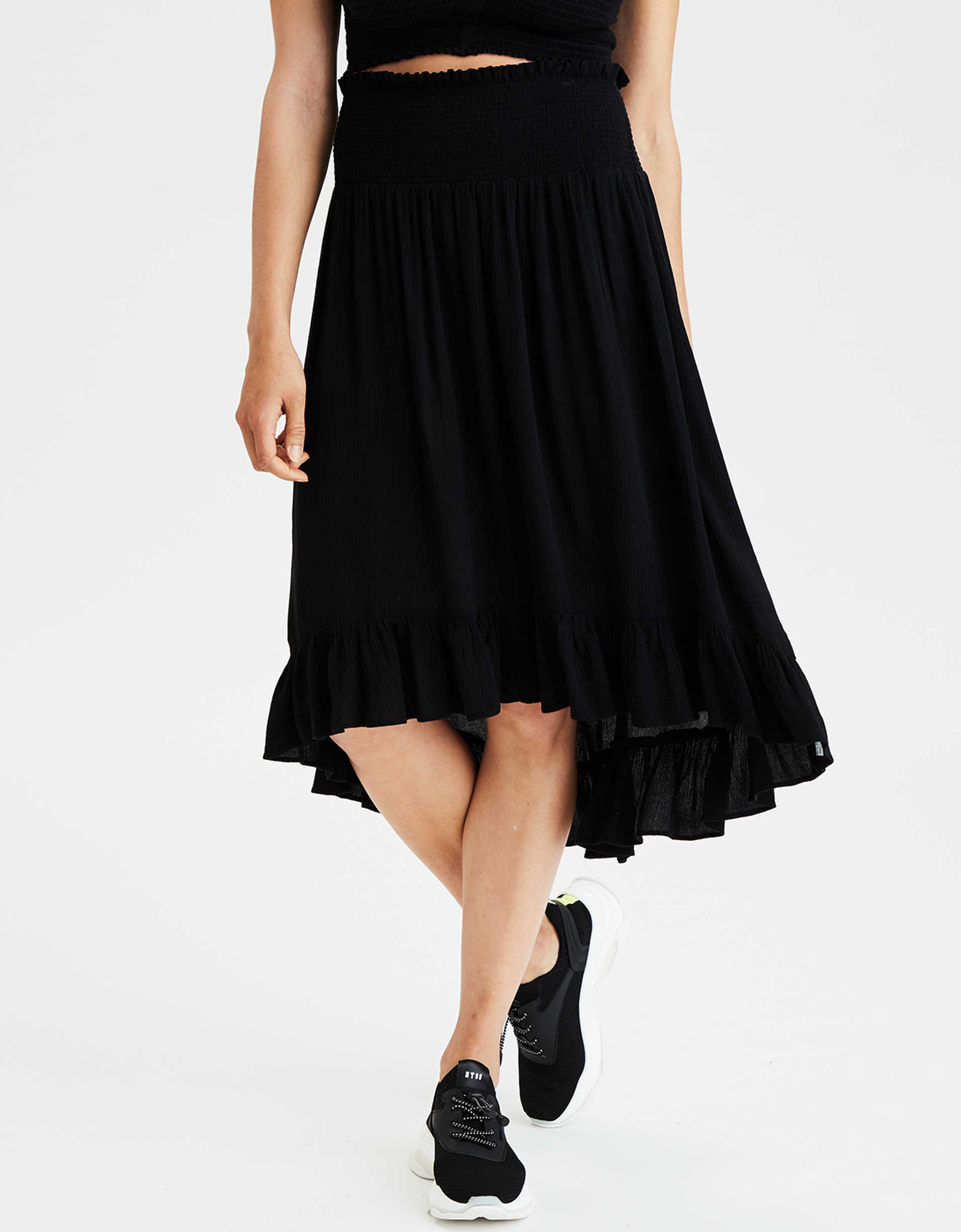 AE High-Waisted High-Low Midi Skirt