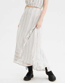 AE High-Waisted Striped Wrap Maxi Skirt