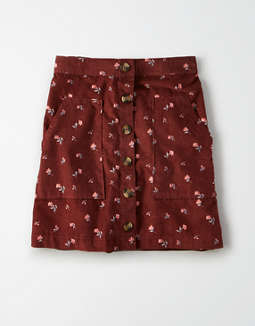 AE High-Waisted Floral Button Front Mini Skirt