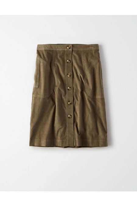 60s Skirts | 70s Hippie Skirts, Jumper Dresses AE High-Waisted Corduroy Button Front Midi Skirt Womens Olive 00 $15.98 AT vintagedancer.com