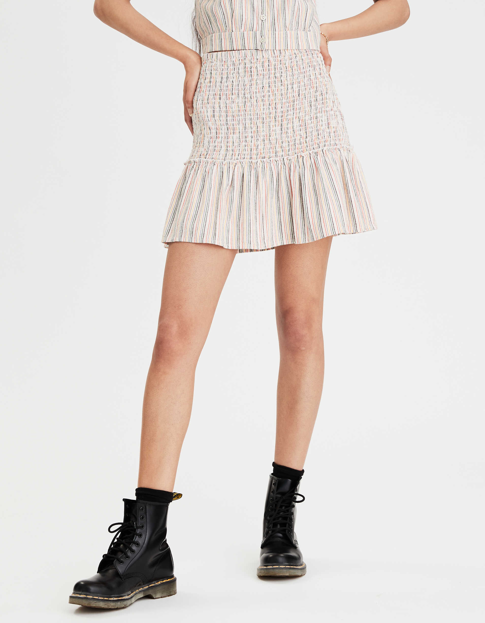 AE High-Waisted Smocked Ruffle Mini Skirt