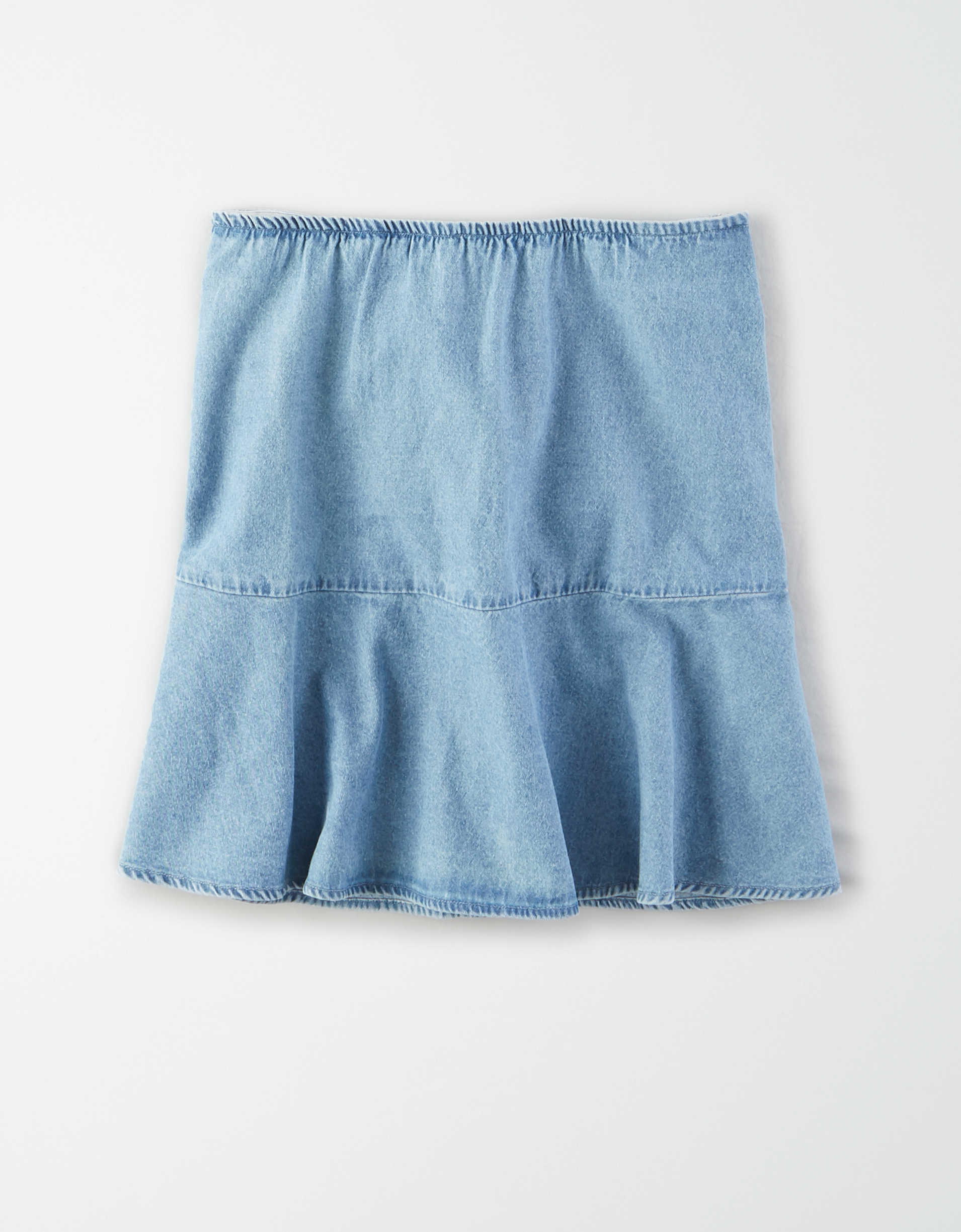 AE High-Waisted Denim Tiered Mini Skirt