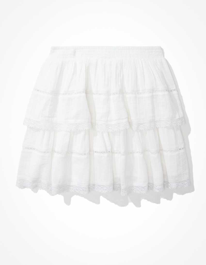 AE Embroidered Tiered Mini Skirt