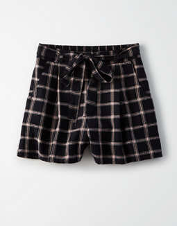 145a074abc placeholder image AE High-Waisted Plaid Tie Front Short ...