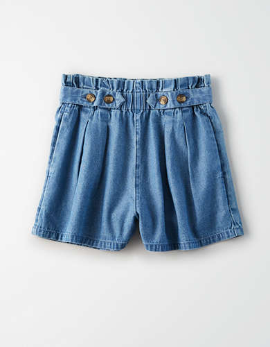AE High-Waisted Denim Button Up Shorts