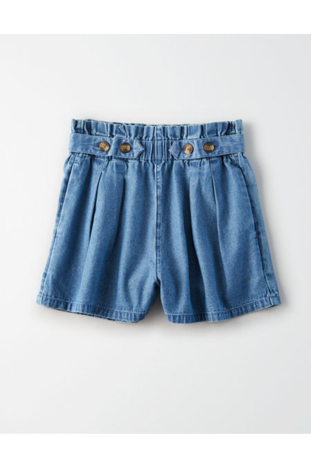 Vintage High Waisted Shorts, Sailor Shorts, Retro Shorts AE High-Waisted Denim Button Up Shorts Womens Chambray Blue S $17.47 AT vintagedancer.com