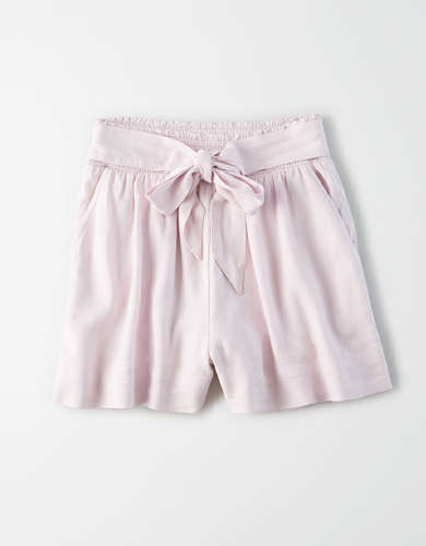 AE High-Waisted Smocked Tie Front Short