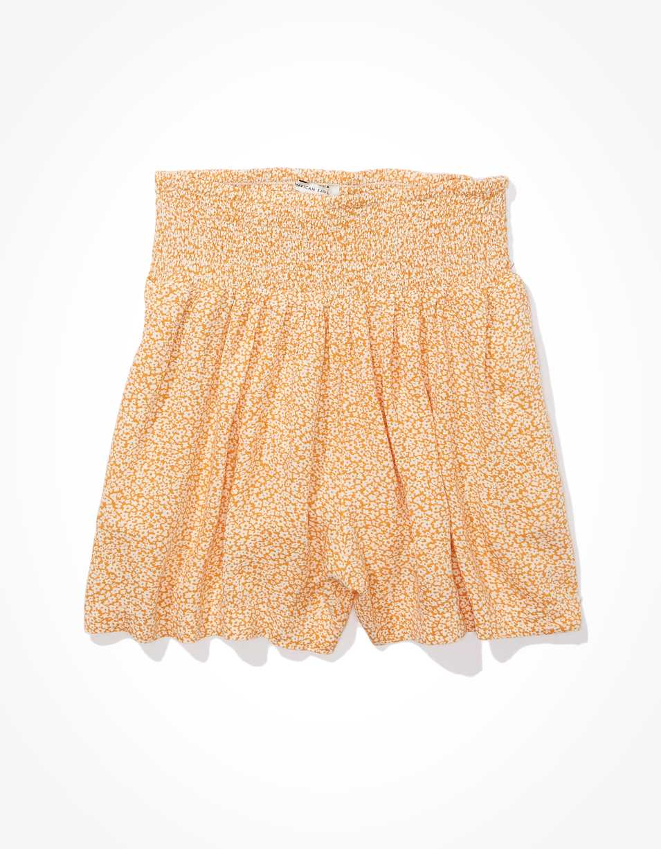 AE High-Waisted Printed Smocked Short