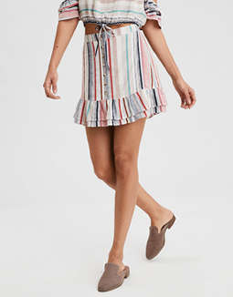 Ae Ruffle Bottom Button Skirt by American Eagle Outfitters