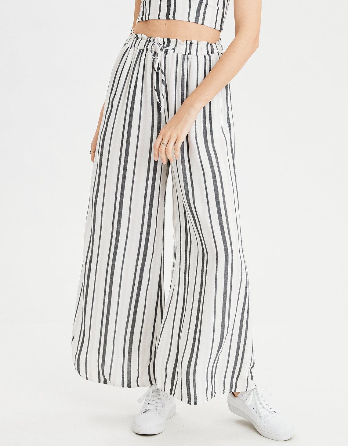 ae striped pant, black