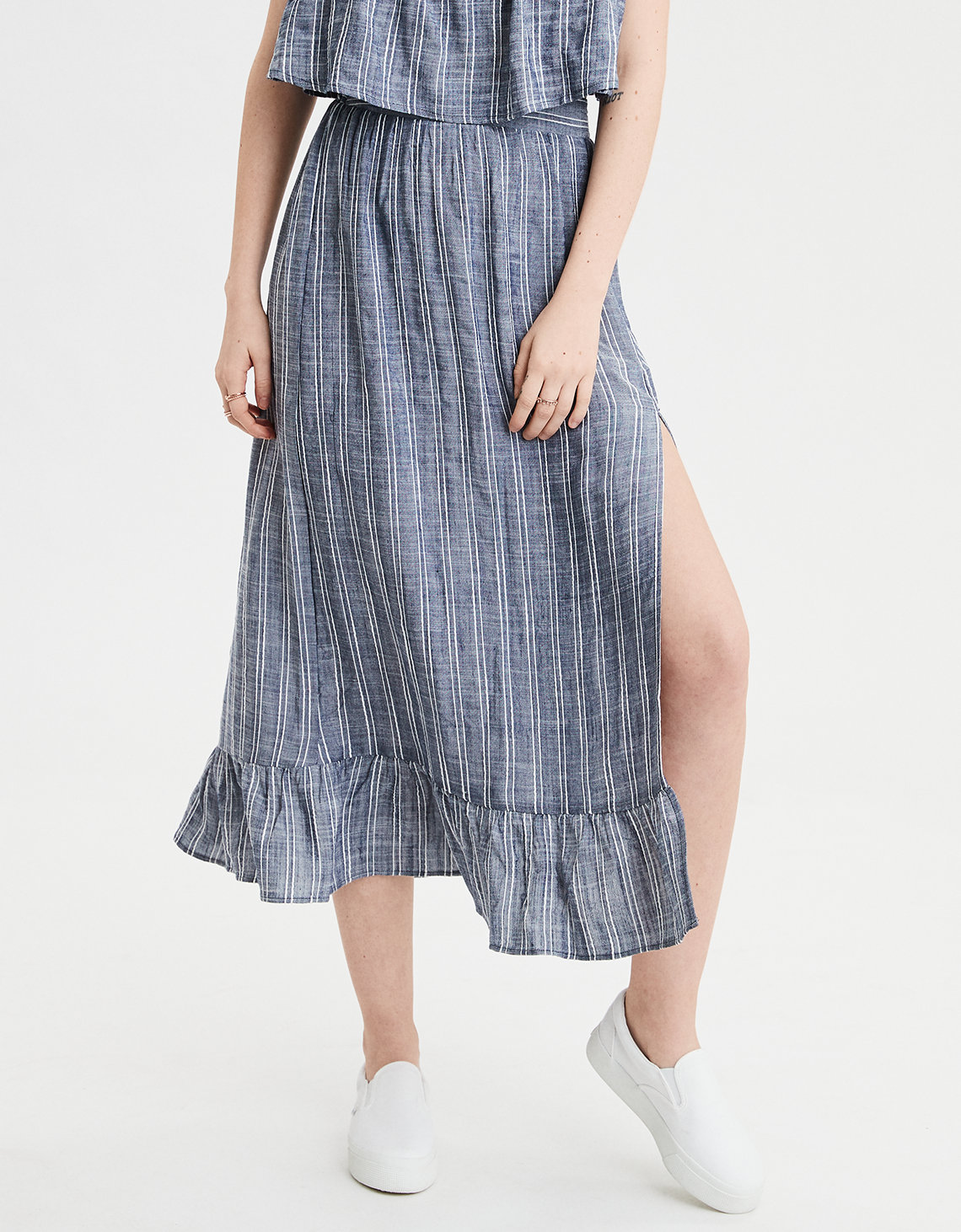 AE High-Waisted Striped Midi Skirt
