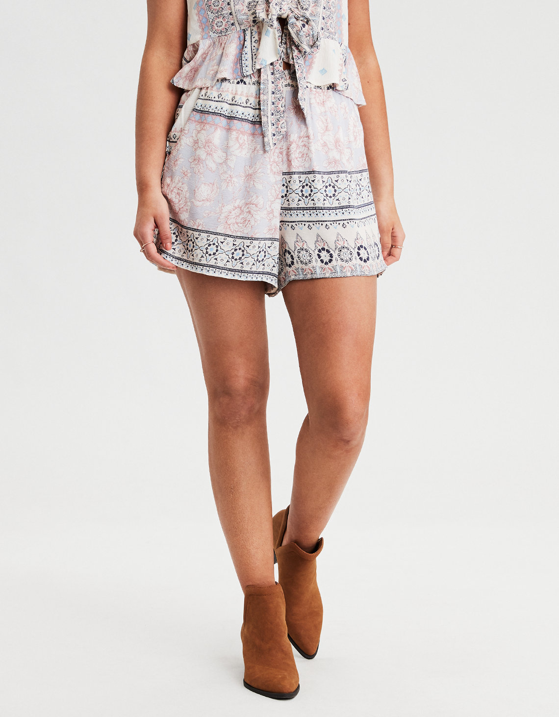 High-Waisted Mixed Print Short