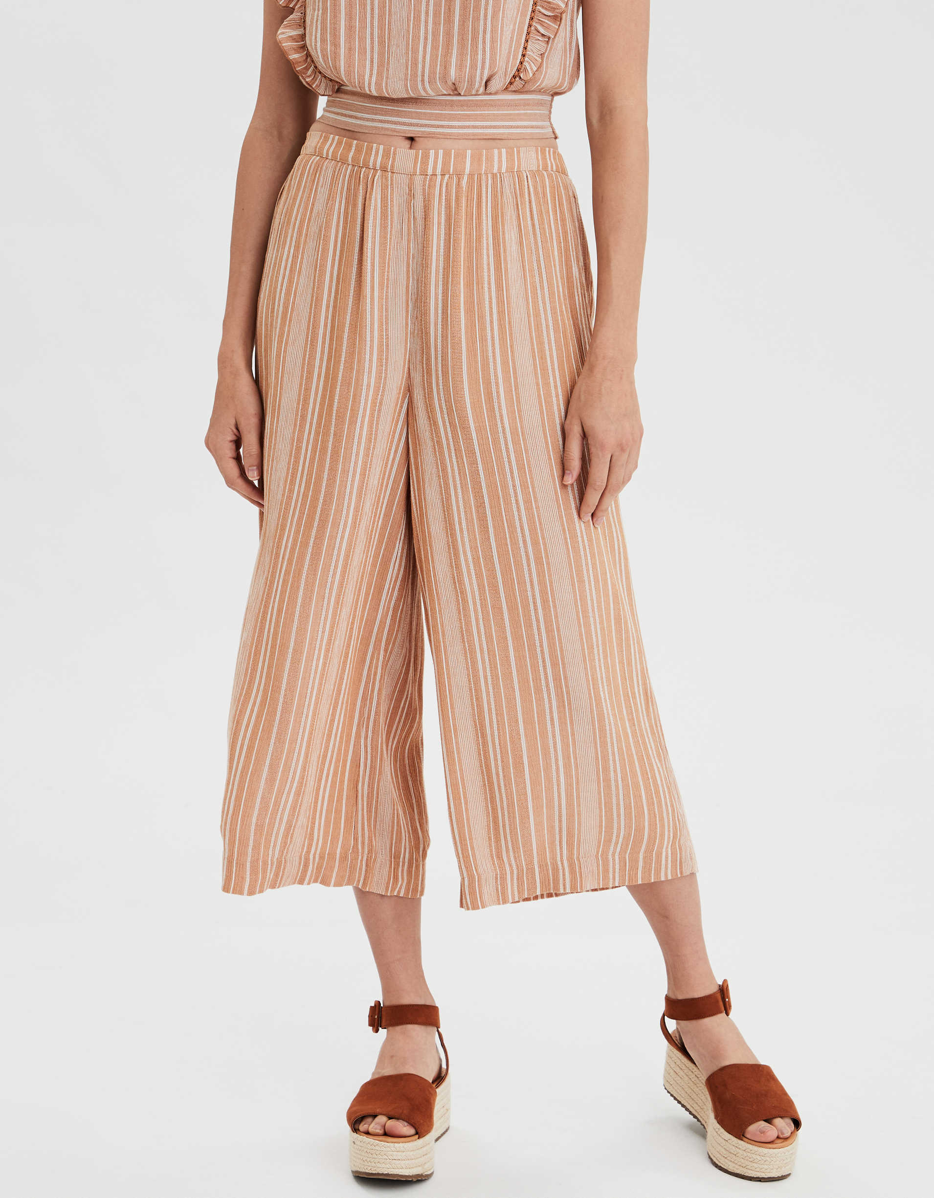 AE High-Waisted Striped Culottes