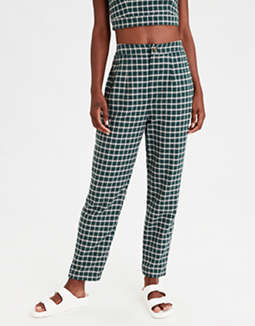 AE High-Waisted Plaid Button Front Pant