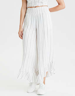 AE High-Waisted Striped Smocked Pants