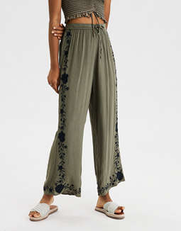 AE High-Waisted Embroidered Palazzo Pant
