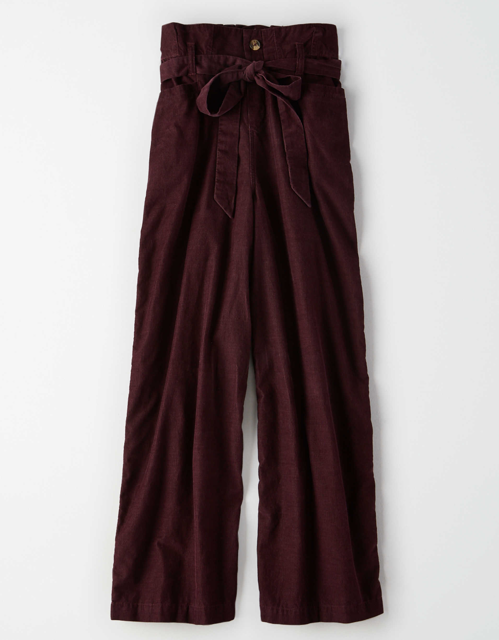 AE High-Waisted Corduroy Paperbag Wide Leg Pant