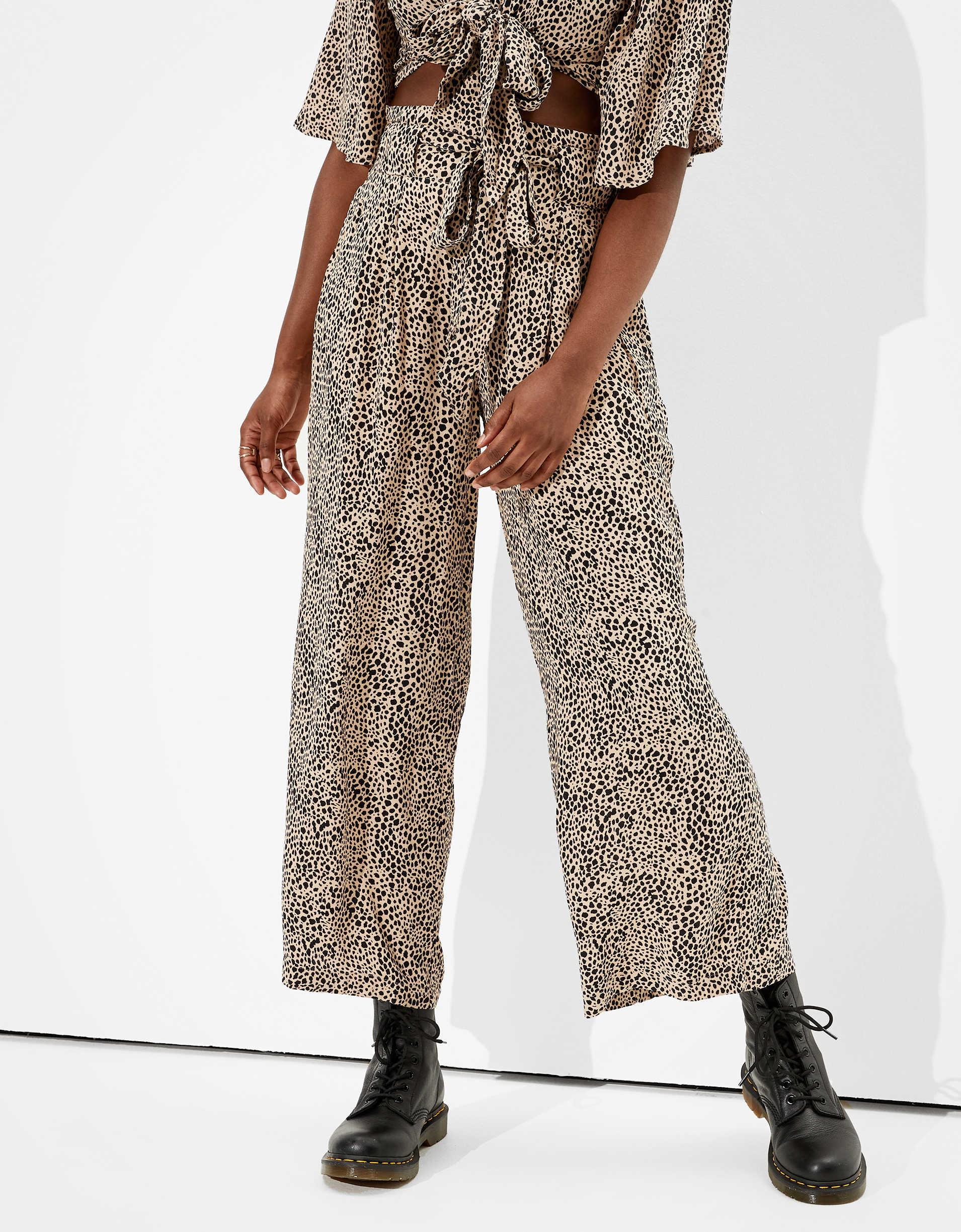 AE High-Waisted Pleated Wide Leg Pant