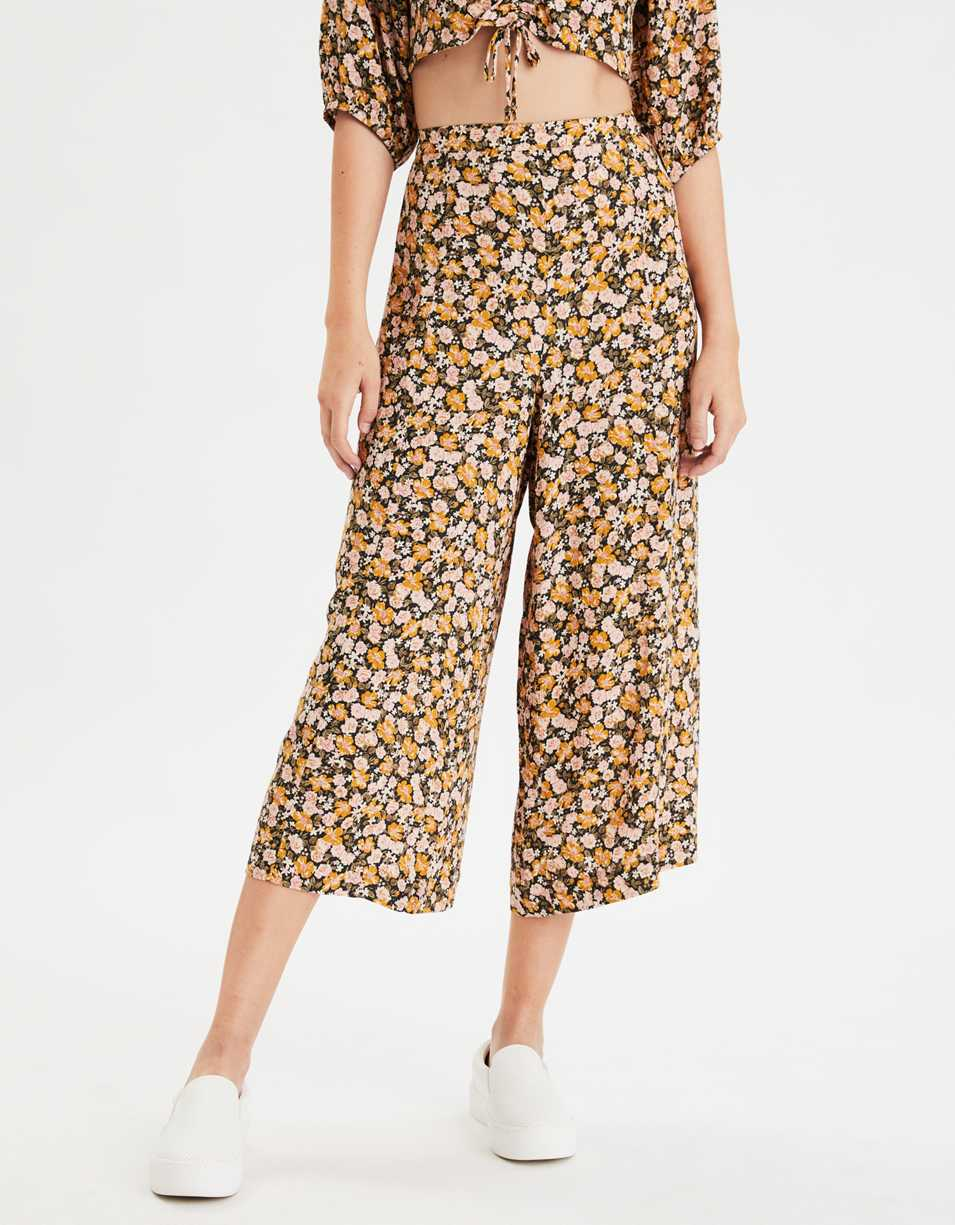 AE High-Waisted Floral Wide Leg Pant