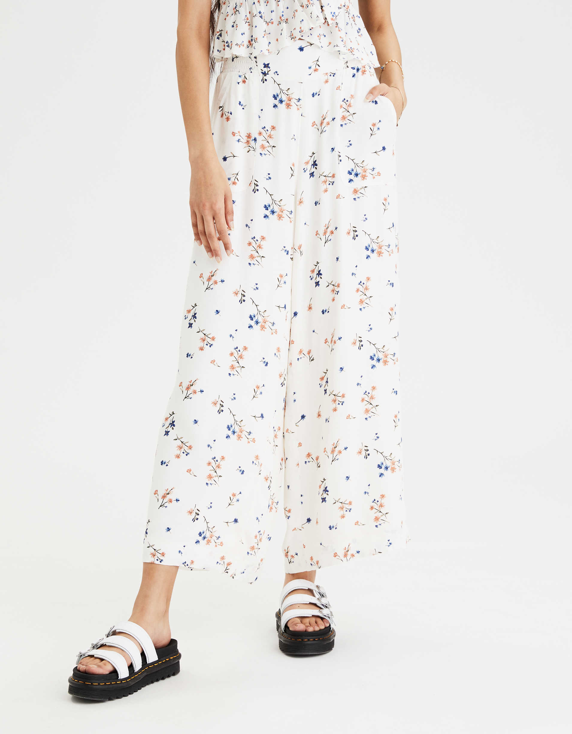 AE High-Waisted Printed Wide Leg Pant