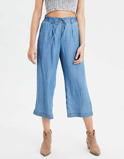 AE High-Waisted Denim Wide Leg Pant
