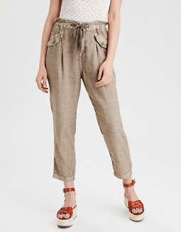 AE Highest Waist Linen Tapered Pant
