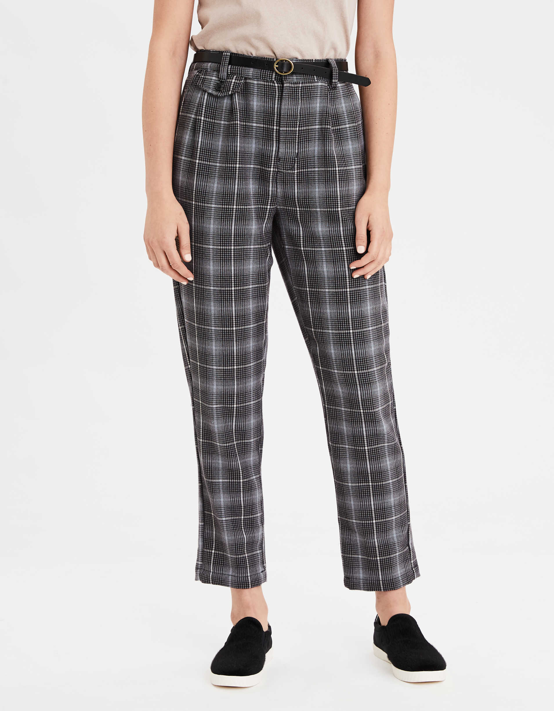 AE Highest Waist Plaid Tapered Pant