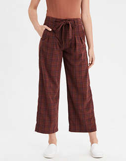 AE Highest Waist Plaid Wide Leg Pant
