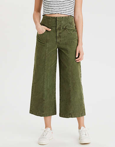 Highest Waist Corduroy Wide Leg Crop Pant