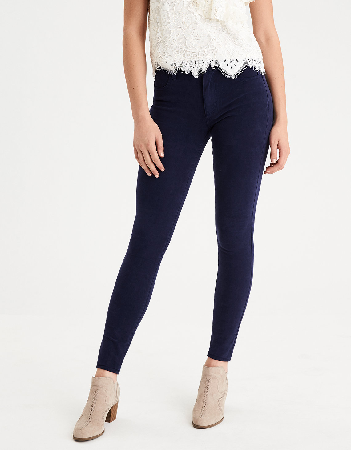 High Waisted Jegging Rich Navy American Eagle Outfitters Tendencies Chinos Short 28 Product Image