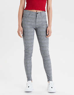 High-Waisted Plaid Jegging