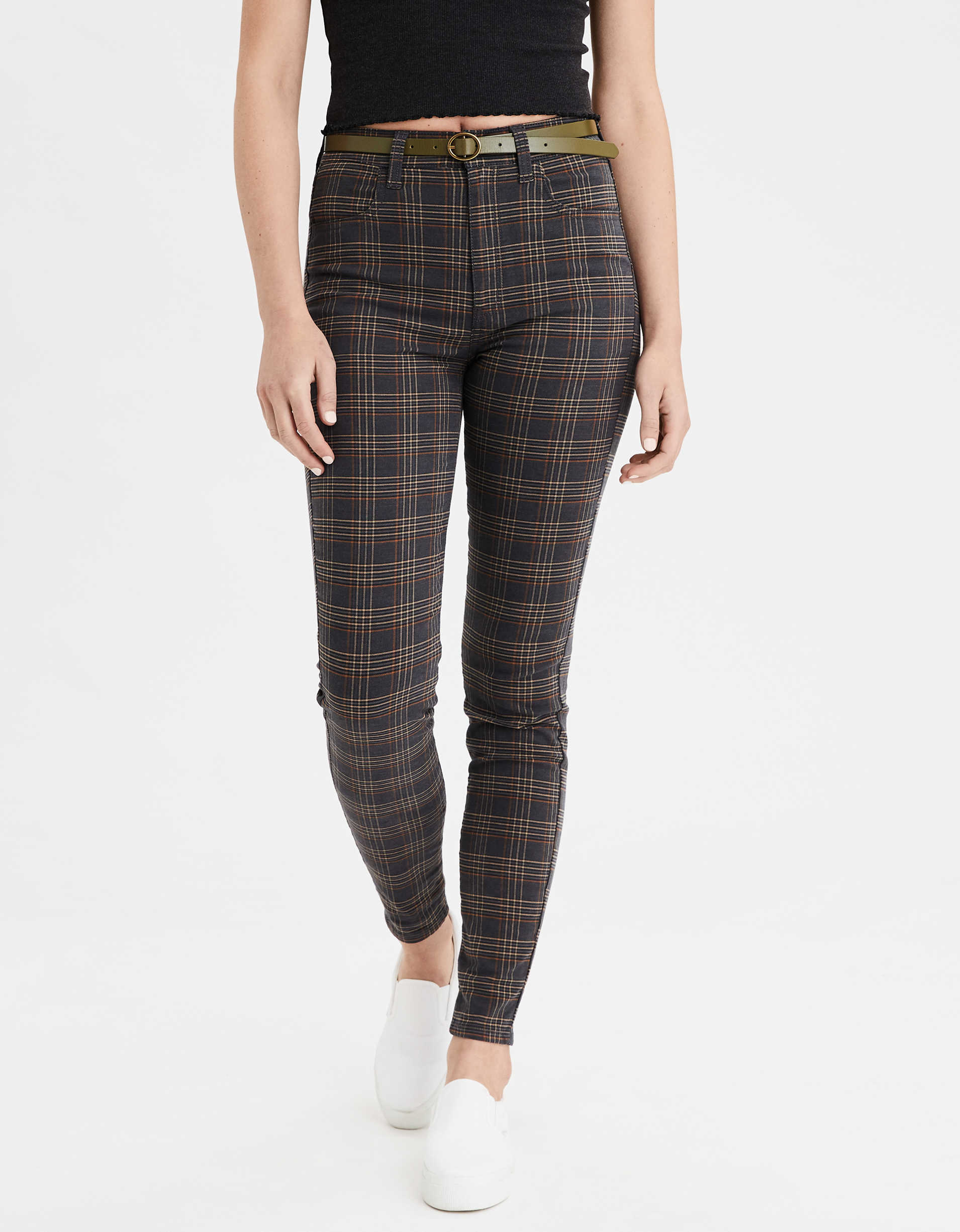Super High-Waisted Plaid Jegging