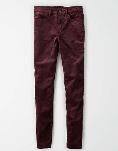 High-Waisted Velvet Jegging