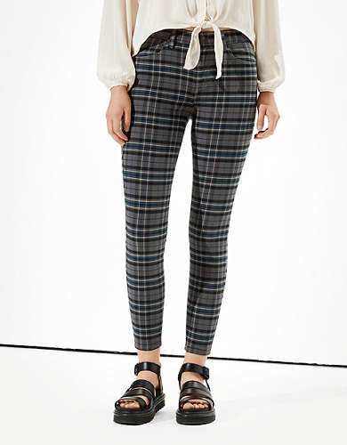 AE High-Waisted Plaid Jegging