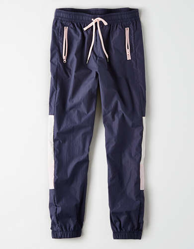 High-waisted Nylon Windbreaker Pant