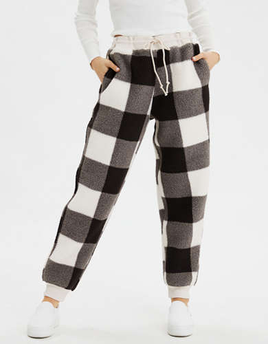 AE High-Waisted Printed Sherpa Jogger