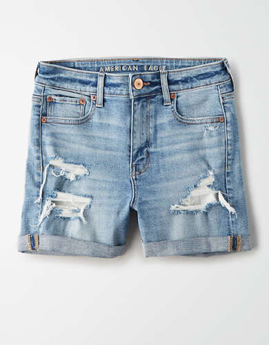 High-Waisted Denim Midi Short