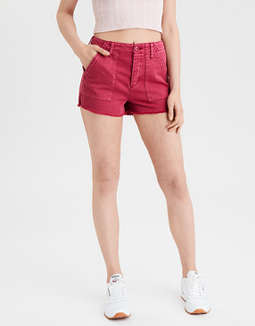 Super High-Waisted Utility Denim Short Short