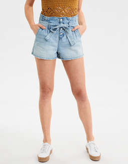 Paperbag Denim Mom Shorts