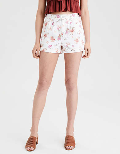 AE Floral Denim Mom Shorts