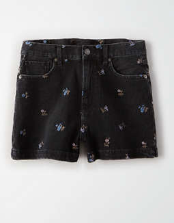 Embroidered Floral Denim Mom Shorts