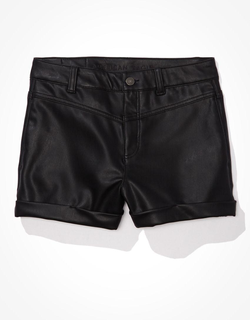 AE Vegan Leather Mom Shorts