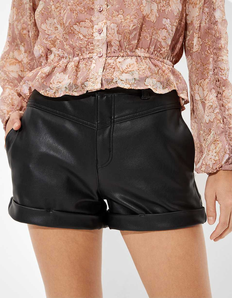 AE Vegan Leather Mom Shorts