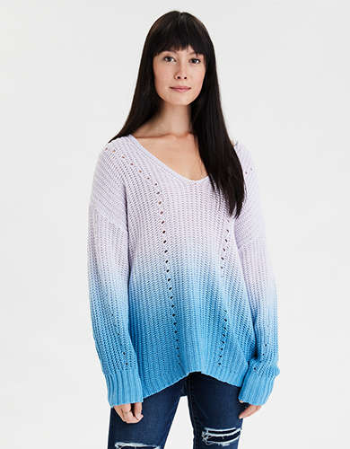 AE Dip Dye V-Neck Sweater