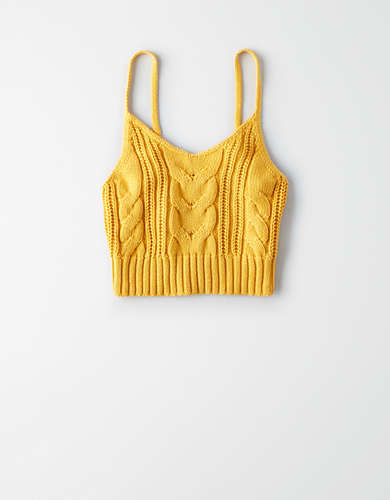 AE Mixed Cable Cropped Tank Top