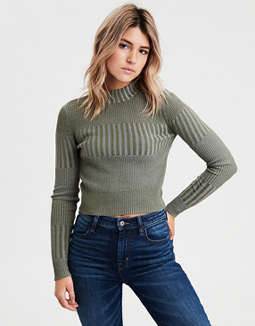 AE Ribbed Mock Neck Pullover Sweater