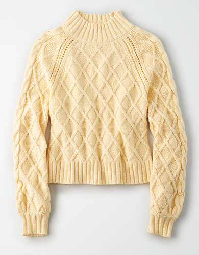 AE Mock Neck Cable Knit Sweater