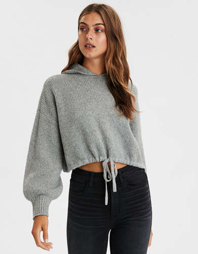 AE Cinched Waist Cropped Hooded Sweater