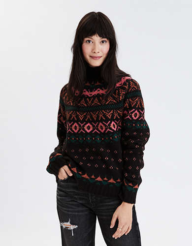 AE Fairisle Mock Neck Sweater